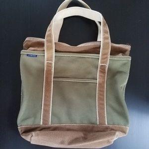LANDS END Zipper Tote Hand Bag Med cotton canvas